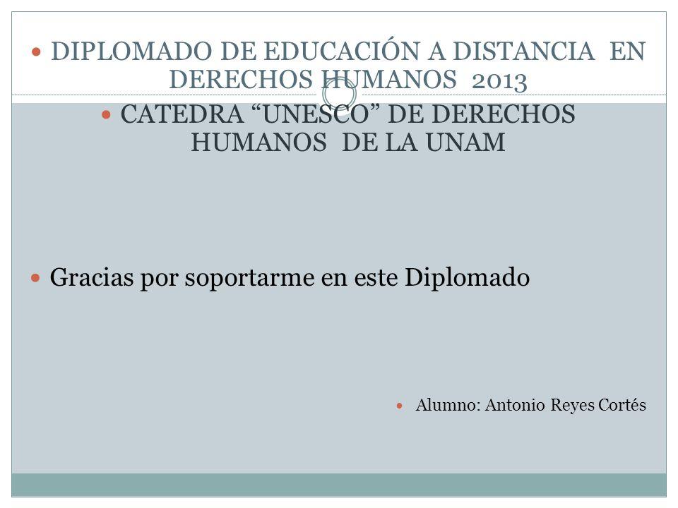 DIPLOMADO DE EDUCACIÓN A DISTANCIA EN DERECHOS HUMANOS 2013 CATEDRA UNESCO DE DERECHOS HUMANOS DE LA UNAM Gracias por soportarme en este Diplomado Alu
