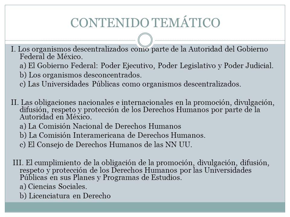 CONTENIDO TEMÁTICO I. Los organismos descentralizados como parte de la Autoridad del Gobierno Federal de México. a) El Gobierno Federal: Poder Ejecuti