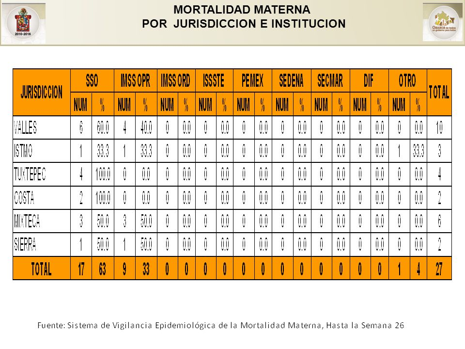 MORTALIDAD MATERNA POR JURISDICCION E INSTITUCION