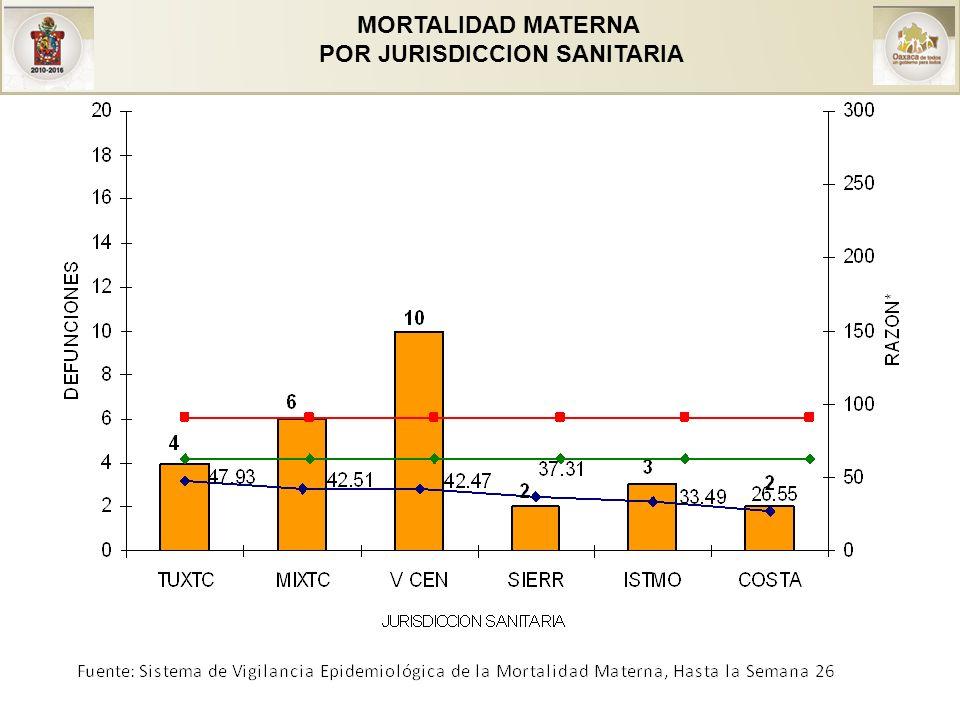 MORTALIDAD MATERNA POR JURISDICCION SANITARIA Y CAUSA
