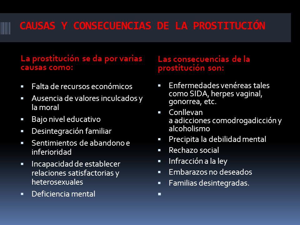 CAUSAS Y CONSECUENCIAS DE LA PROSTITUCIÓN La prostitución se da por varias causas como: Las consecuencias de la prostitución son: Falta de recursos ec