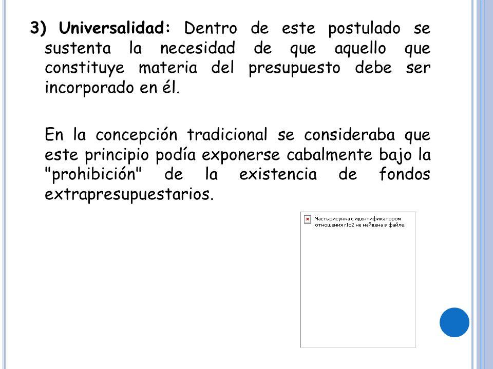 4) Exclusividad: En cierto modo este principio complementa y precisa el postulado de la universalidad, exigiendo que no se incluyan en la ley anual de presupuesto asuntos que no sean inherentes a esta materia.