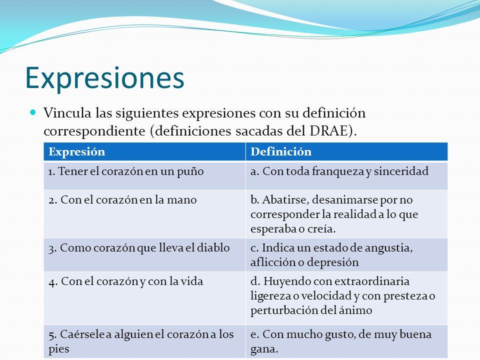 Expresiones Vincula las siguientes expresiones con su definición correspondiente (definiciones sacadas del DRAE). ExpresiónDefinición 1. Tener el cora