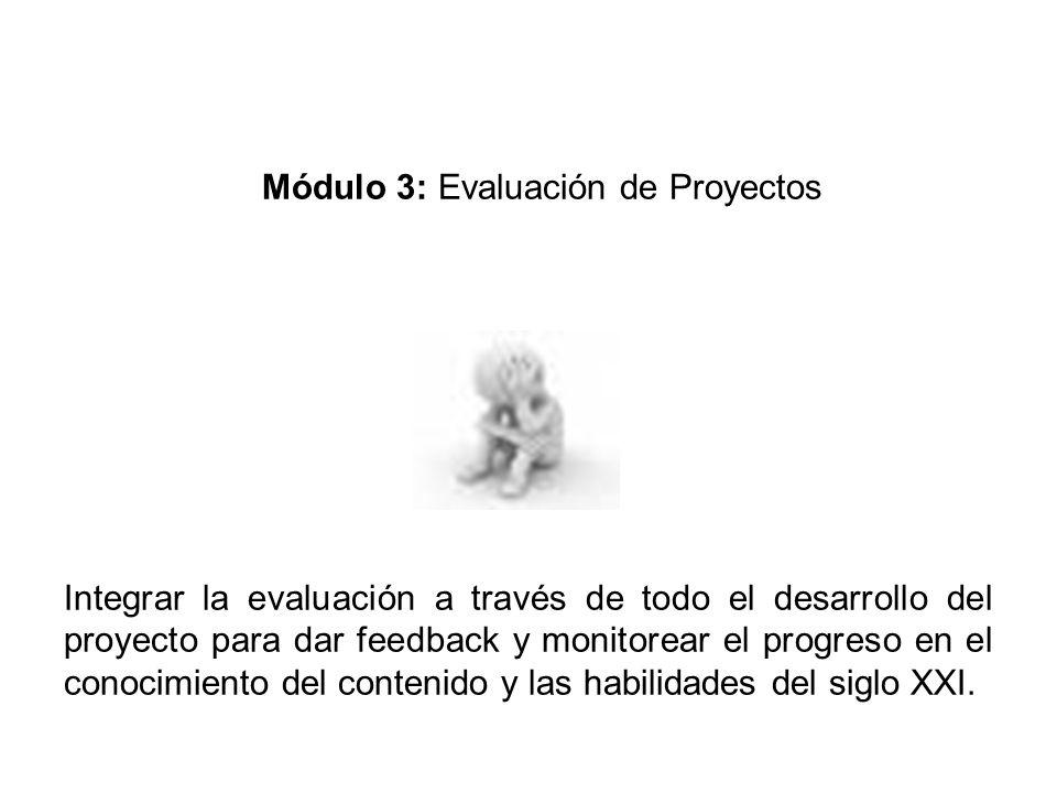 Módulo 3: Evaluación de Proyectos Integrar la evaluación a través de todo el desarrollo del proyecto para dar feedback y monitorear el progreso en el