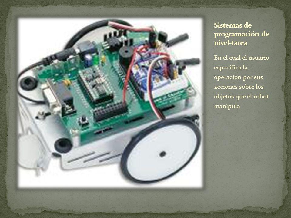 En el cual el usuario especifica la operación por sus acciones sobre los objetos que el robot manipula