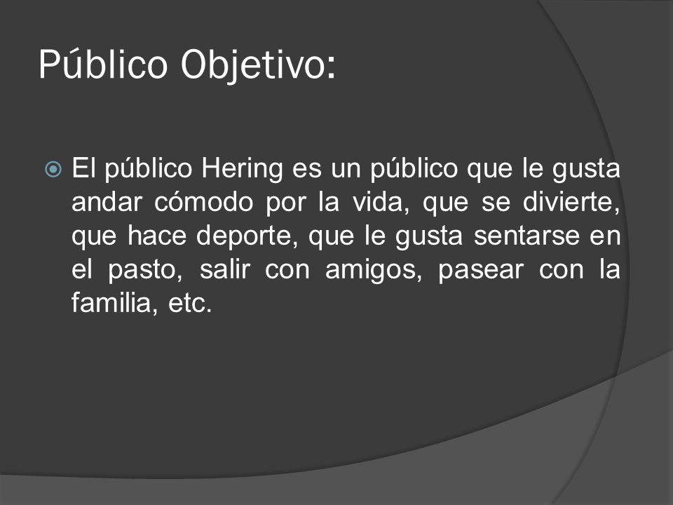 Público Objetivo: El público Hering es un público que le gusta andar cómodo por la vida, que se divierte, que hace deporte, que le gusta sentarse en el pasto, salir con amigos, pasear con la familia, etc.