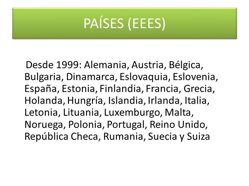 PAÍSES (EEES) Desde 1999: Alemania, Austria, Bélgica, Bulgaria, Dinamarca, Eslovaquia, Eslovenia, España, Estonia, Finlandia, Francia, Grecia, Holanda