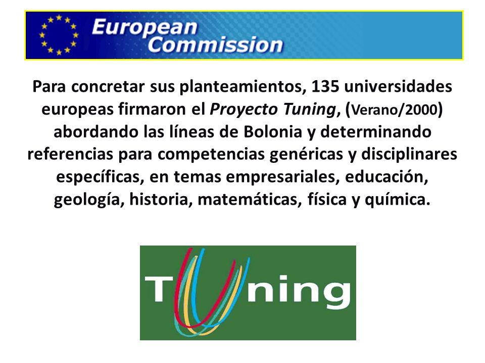 Para concretar sus planteamientos, 135 universidades europeas firmaron el Proyecto Tuning, ( Verano/2000 ) abordando las líneas de Bolonia y determina