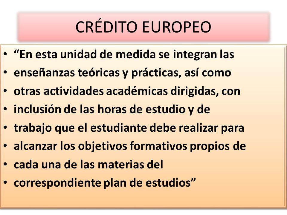 CRÉDITO EUROPEO En esta unidad de medida se integran las enseñanzas teóricas y prácticas, así como otras actividades académicas dirigidas, con inclusi