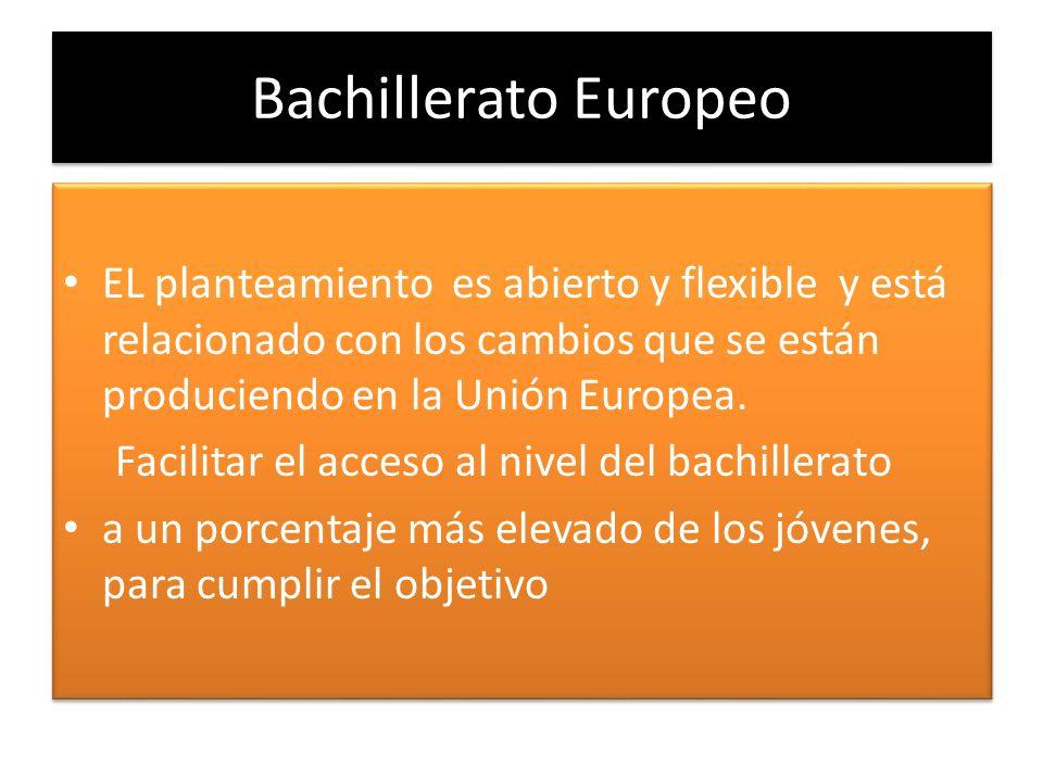 Bachillerato Europeo EL planteamiento es abierto y flexible y está relacionado con los cambios que se están produciendo en la Unión Europea. Facilitar
