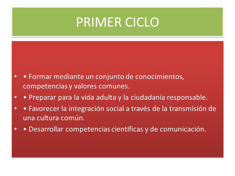 PRIMER CICLO Formar mediante un conjunto de conocimientos, competencias y valores comunes. Preparar para la vida adulta y la ciudadanía responsable. F