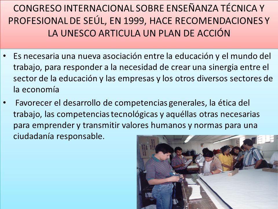 CONGRESO INTERNACIONAL SOBRE ENSEÑANZA TÉCNICA Y PROFESIONAL DE SEÚL, EN 1999, HACE RECOMENDACIONES Y LA UNESCO ARTICULA UN PLAN DE ACCIÓN Es necesari