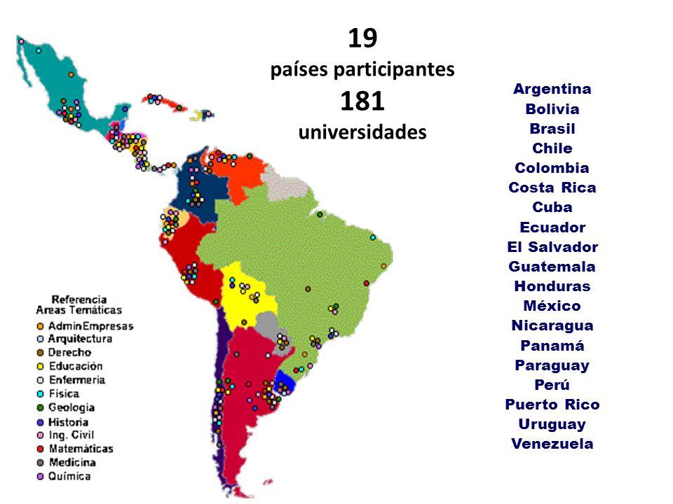 Argentina Bolivia Brasil Chile Colombia Costa Rica Cuba Ecuador El Salvador Guatemala Honduras México Nicaragua Panamá Paraguay Perú Puerto Rico Urugu
