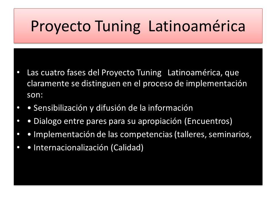 Proyecto Tuning Latinoamérica Las cuatro fases del Proyecto Tuning Latinoamérica, que claramente se distinguen en el proceso de implementación son: Se