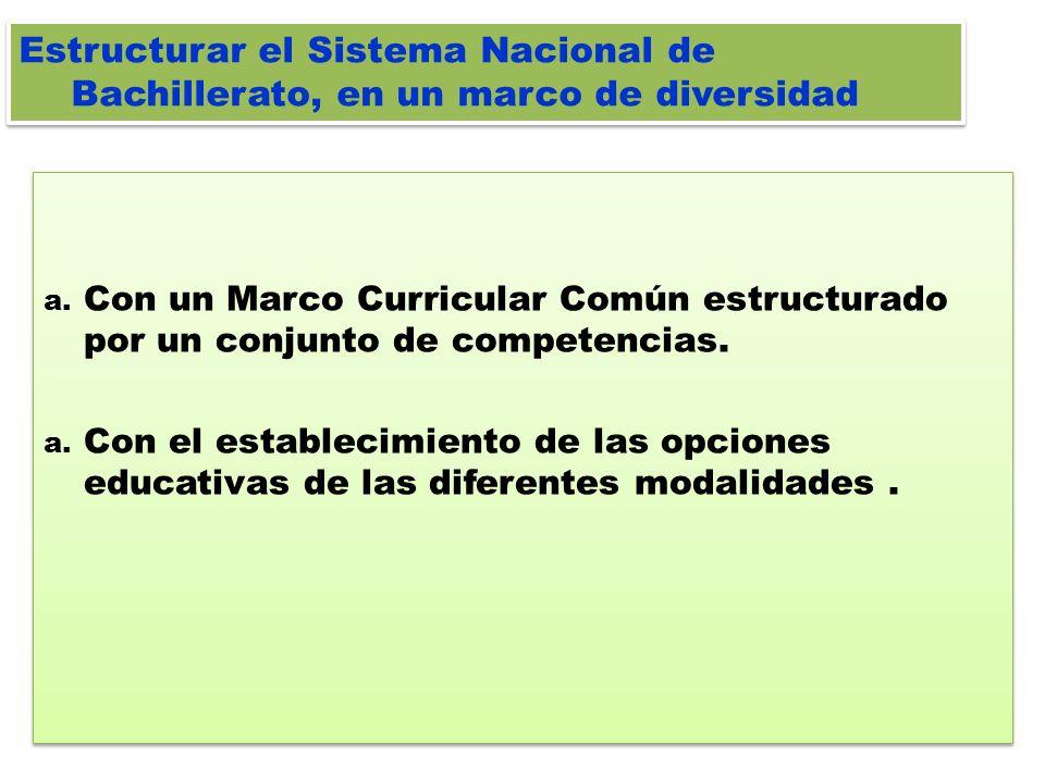 Estructurar el Sistema Nacional de Bachillerato, en un marco de diversidad a. Con un Marco Curricular Común estructurado por un conjunto de competenci