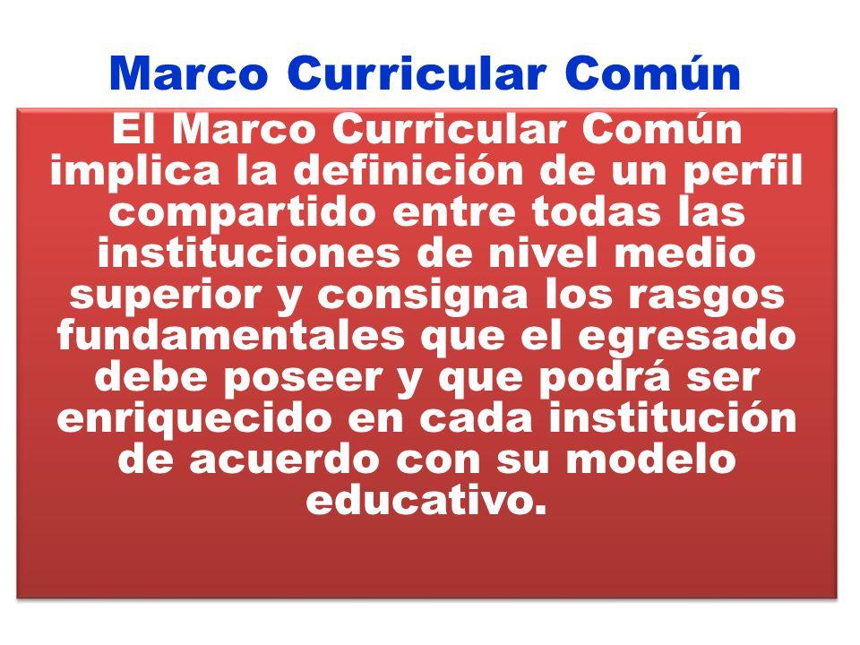 El Marco Curricular Común implica la definición de un perfil compartido entre todas las instituciones de nivel medio superior y consigna los rasgos fu