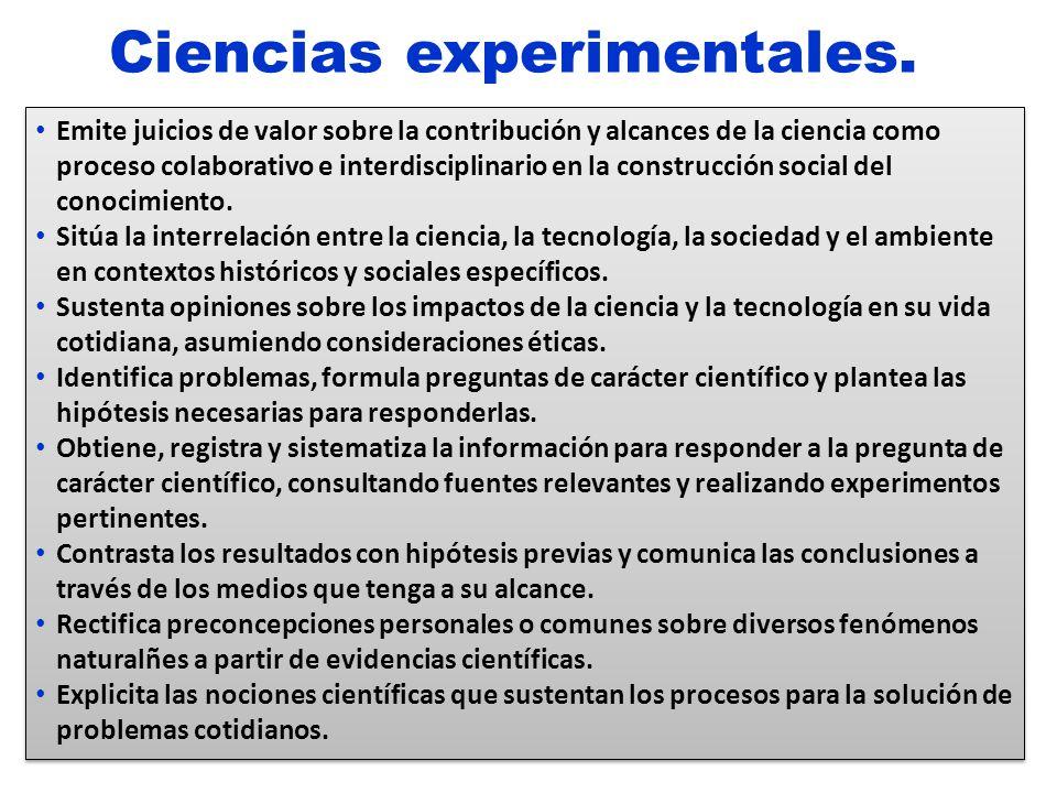 Ciencias experimentales. Emite juicios de valor sobre la contribución y alcances de la ciencia como proceso colaborativo e interdisciplinario en la co