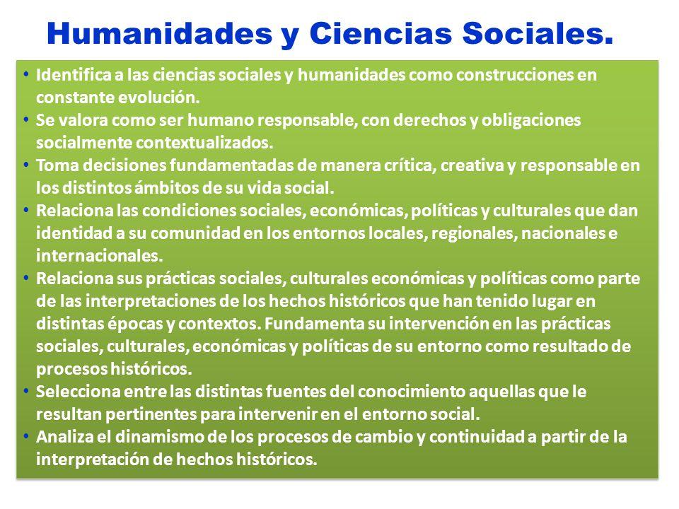 Humanidades y Ciencias Sociales. Identifica a las ciencias sociales y humanidades como construcciones en constante evolución. Se valora como ser human