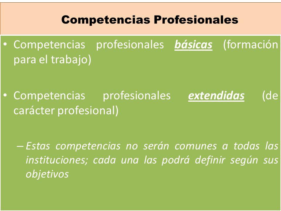 Competencias Profesionales Competencias profesionales básicas (formación para el trabajo) Competencias profesionales extendidas (de carácter profesion