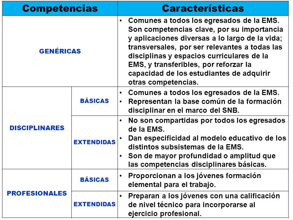 CompetenciasCaracterísticas GENÉRICAS Comunes a todos los egresados de la EMS. Son competencias clave, por su importancia y aplicaciones diversas a lo
