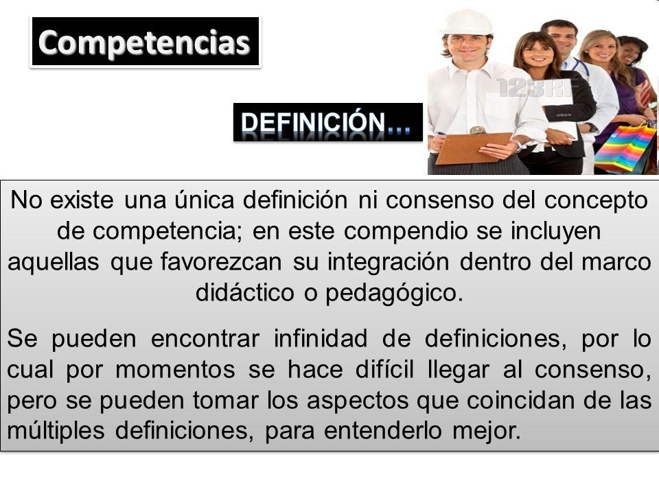 No existe una única definición ni consenso del concepto de competencia; en este compendio se incluyen aquellas que favorezcan su integración dentro de