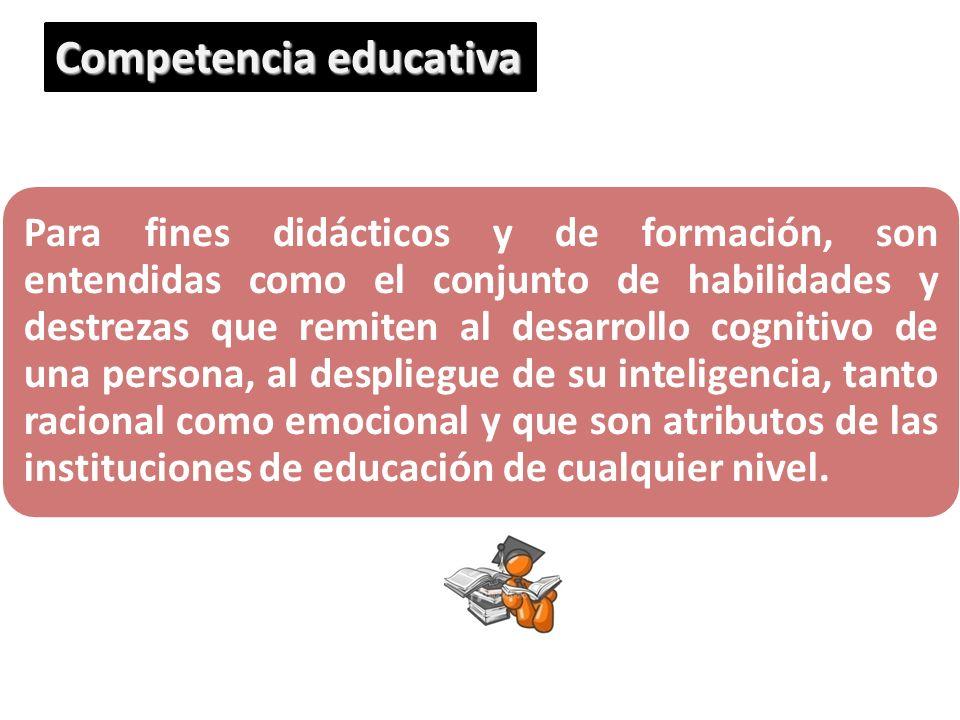 Para fines didácticos y de formación, son entendidas como el conjunto de habilidades y destrezas que remiten al desarrollo cognitivo de una persona, a