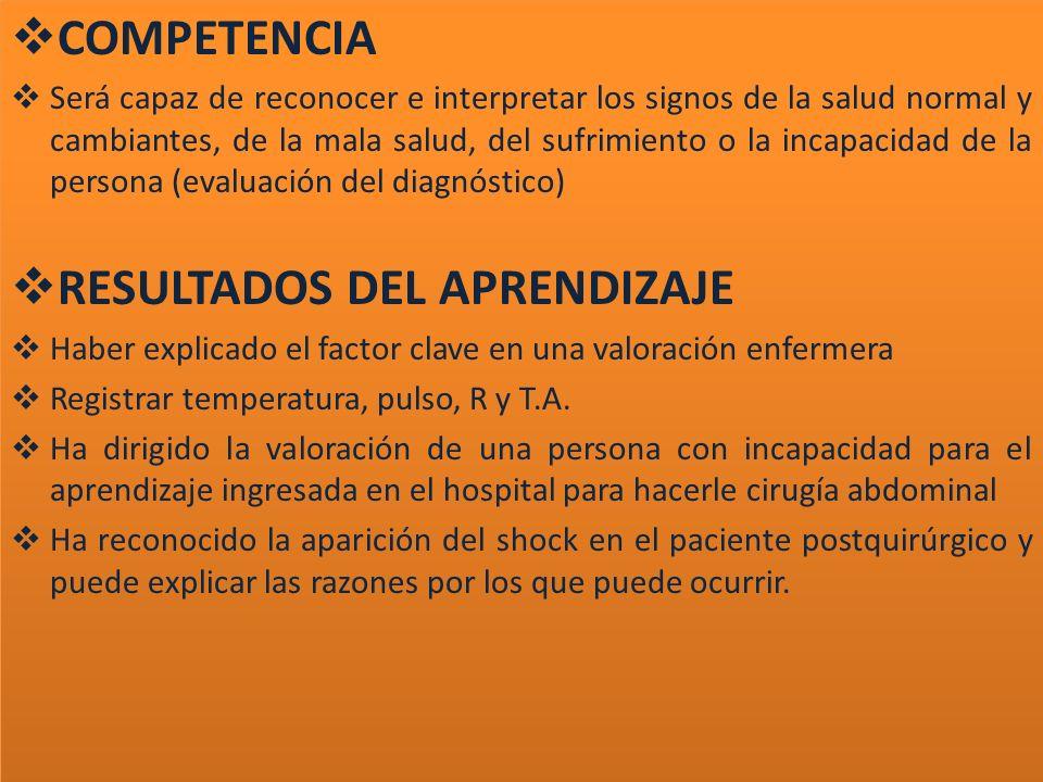 COMPETENCIA Será capaz de reconocer e interpretar los signos de la salud normal y cambiantes, de la mala salud, del sufrimiento o la incapacidad de la