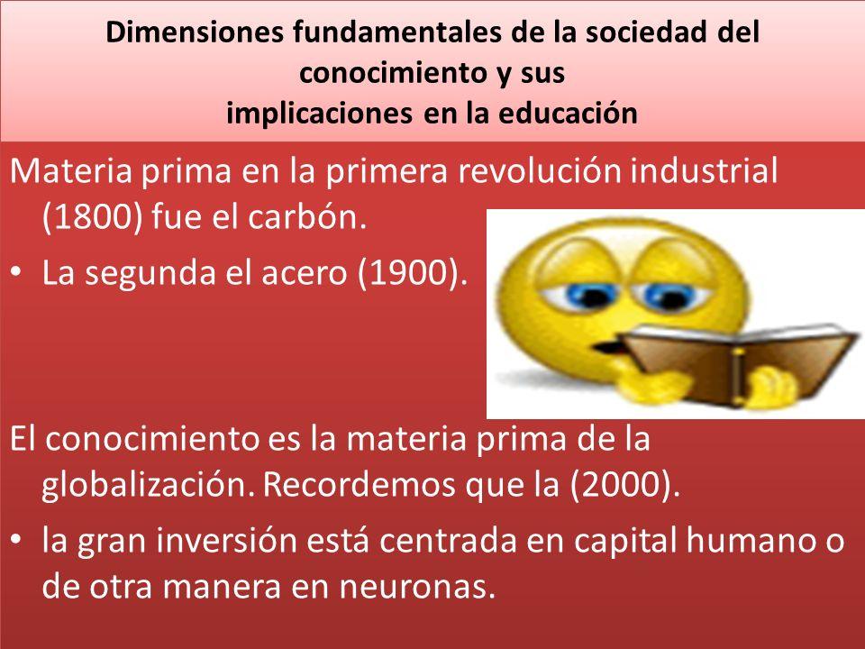 Dimensiones fundamentales de la sociedad del conocimiento y sus implicaciones en la educación Materia prima en la primera revolución industrial (1800)