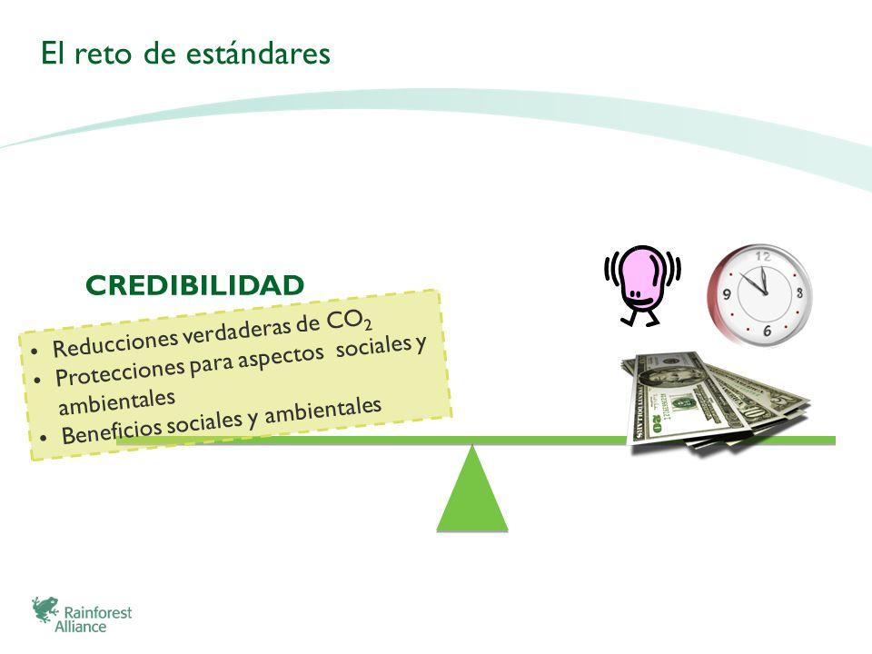 Reducciones verdaderas de CO 2 Protecciones para aspectos sociales y ambientales Beneficios sociales y ambientales CREDIBILIDAD El reto de estándares