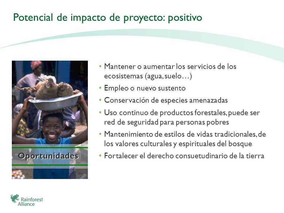 Oportunidades Potencial de impacto de proyecto: positivo Mantener o aumentar los servicios de los ecosistemas (agua, suelo…) Empleo o nuevo sustento C
