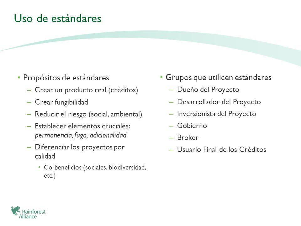 Uso de estándares Grupos que utilicen estándares – Dueño del Proyecto – Desarrollador del Proyecto – Inversionista del Proyecto – Gobierno – Broker –