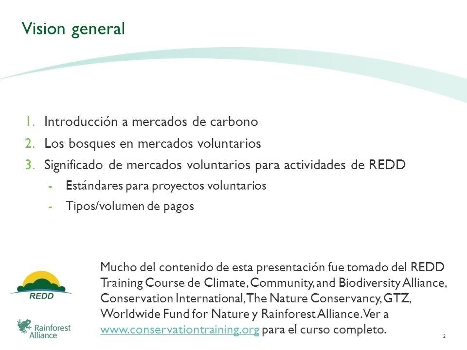 Vision general 1.Introducción a mercados de carbono 2.Los bosques en mercados voluntarios 3.Significado de mercados voluntarios para actividades de RE