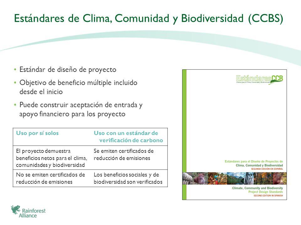 Estándares de Clima, Comunidad y Biodiversidad (CCBS) Estándar de diseño de proyecto Objetivo de beneficio múltiple incluido desde el inicio Puede con