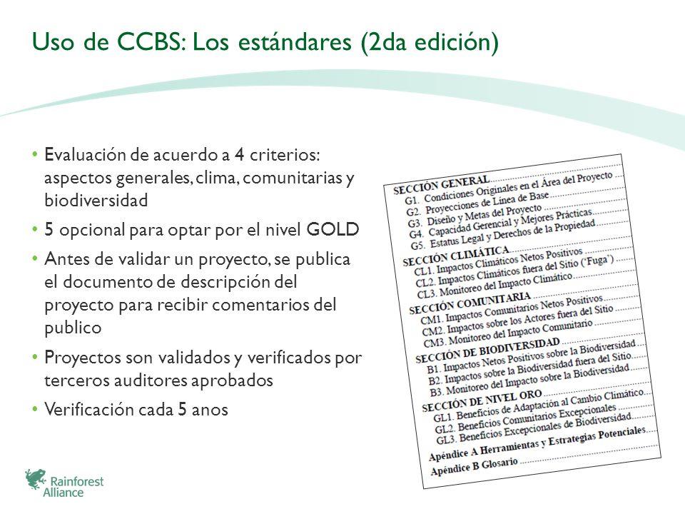 Uso de CCBS: Los estándares (2da edición) Evaluación de acuerdo a 4 criterios: aspectos generales, clima, comunitarias y biodiversidad 5 opcional para