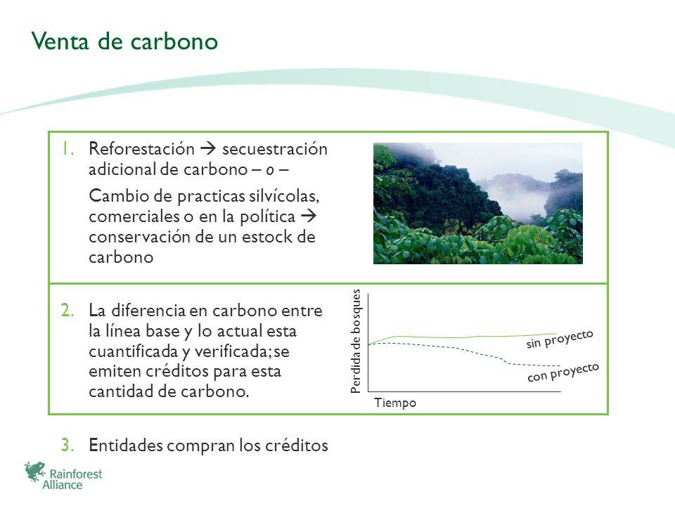 Venta de carbono 1.Reforestación secuestración adicional de carbono – o – Cambio de practicas silvícolas, comerciales o en la política conservación de