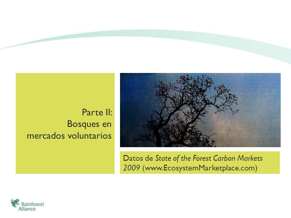 Parte II: Bosques en mercados voluntarios Datos de State of the Forest Carbon Markets 2009 (www.EcosystemMarketplace.com)