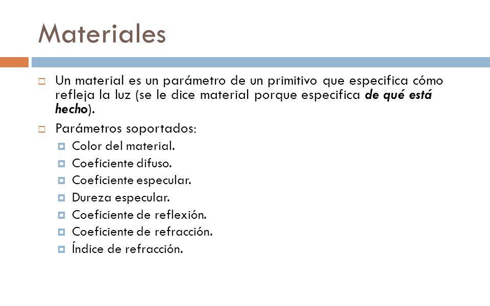 Materiales Un material es un parámetro de un primitivo que especifica cómo refleja la luz (se le dice material porque especifica de qué está hecho). P