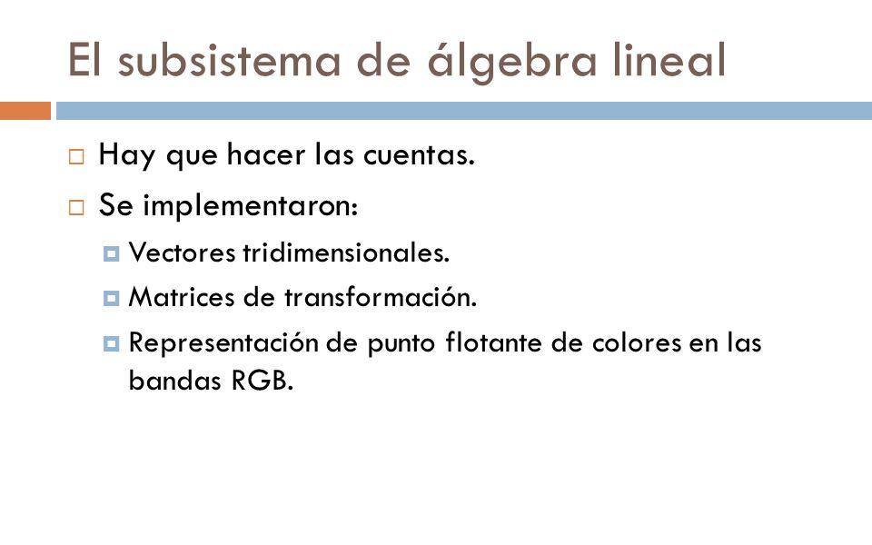 El subsistema de álgebra lineal Hay que hacer las cuentas. Se implementaron: Vectores tridimensionales. Matrices de transformación. Representación de