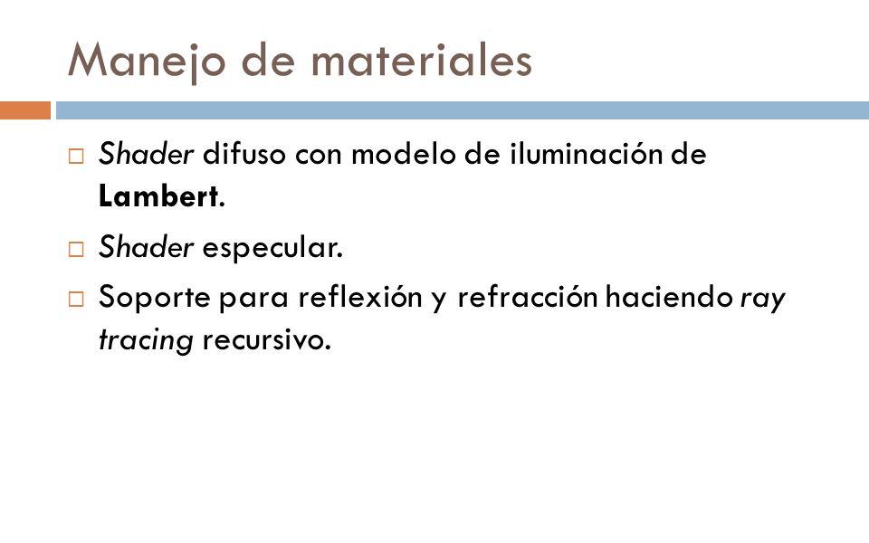 Manejo de materiales Shader difuso con modelo de iluminación de Lambert. Shader especular. Soporte para reflexión y refracción haciendo ray tracing re
