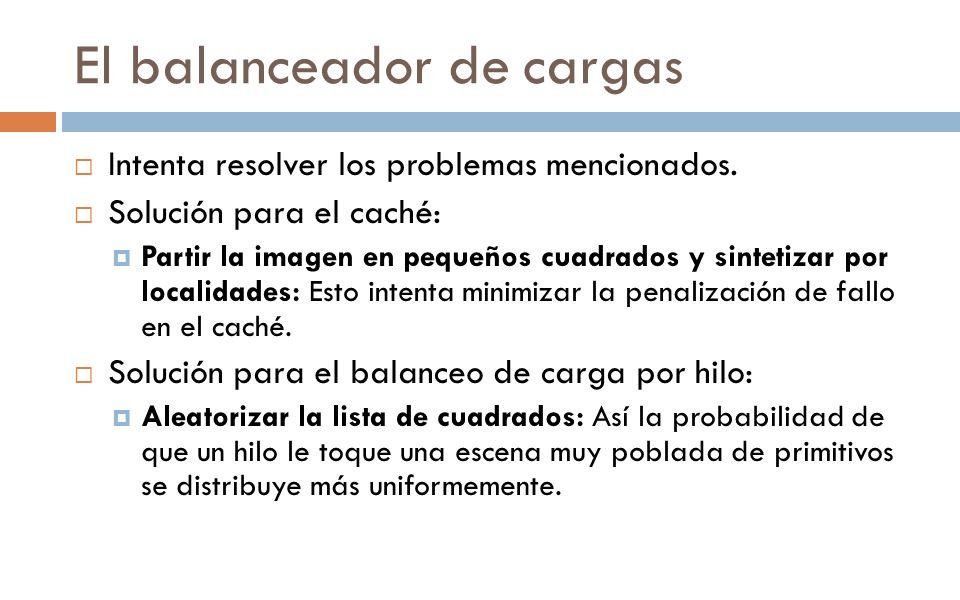 El balanceador de cargas Intenta resolver los problemas mencionados. Solución para el caché: Partir la imagen en pequeños cuadrados y sintetizar por l