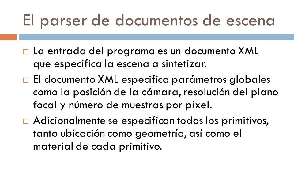 El parser de documentos de escena La entrada del programa es un documento XML que especifica la escena a sintetizar. El documento XML especifica parám