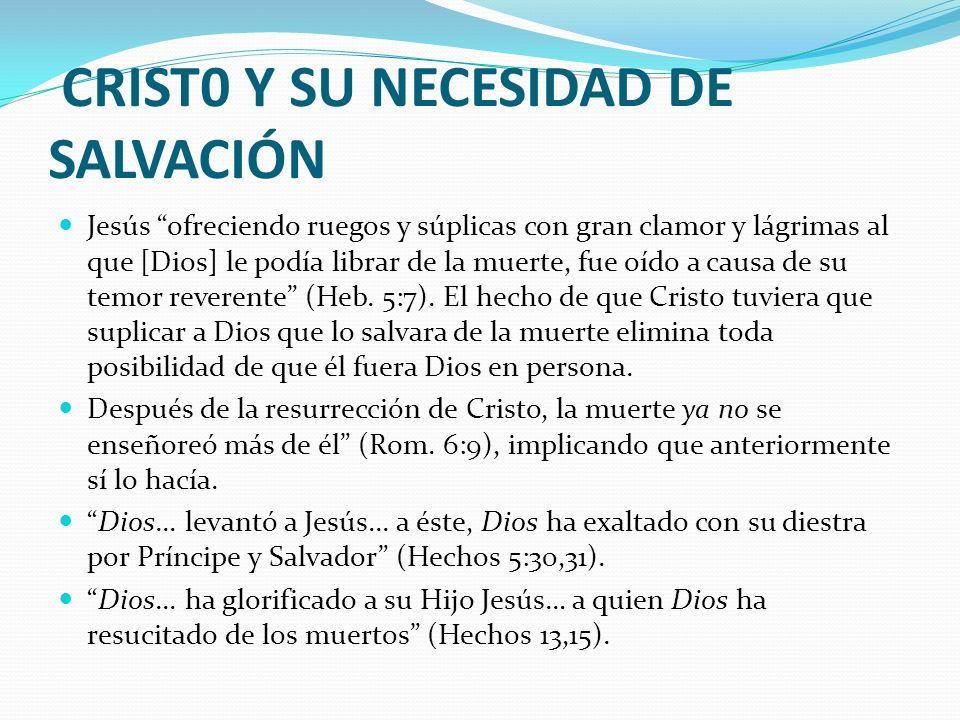 CRIST0 Y SU NECESIDAD DE SALVACIÓN Jesús ofreciendo ruegos y súplicas con gran clamor y lágrimas al que [Dios] le podía librar de la muerte, fue oído