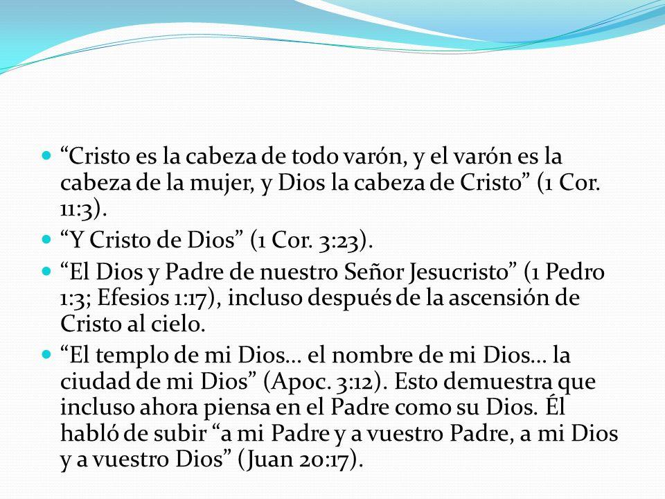 Cristo es la cabeza de todo varón, y el varón es la cabeza de la mujer, y Dios la cabeza de Cristo (1 Cor. 11:3). Y Cristo de Dios (1 Cor. 3:23). El D