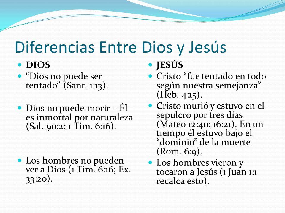 Diferencias Entre Dios y Jesús DIOS Dios no puede ser tentado (Sant. 1:13). Dios no puede morir – Él es inmortal por naturaleza (Sal. 90:2; 1 Tim. 6:1