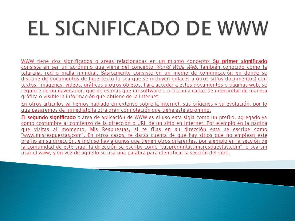 WWW tiene dos significados o áreas relacionadas en un mismo concepto: Su primer significado consiste en ser un acrónimo que viene del concepto World Wide Web, también conocido como la telaraña, red o malla mundial.