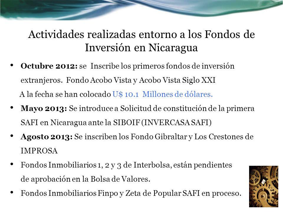 Actividades realizadas entorno a los Fondos de Inversión en Nicaragua Octubre 2012: se Inscribe los primeros fondos de inversión extranjeros. Fondo Ac