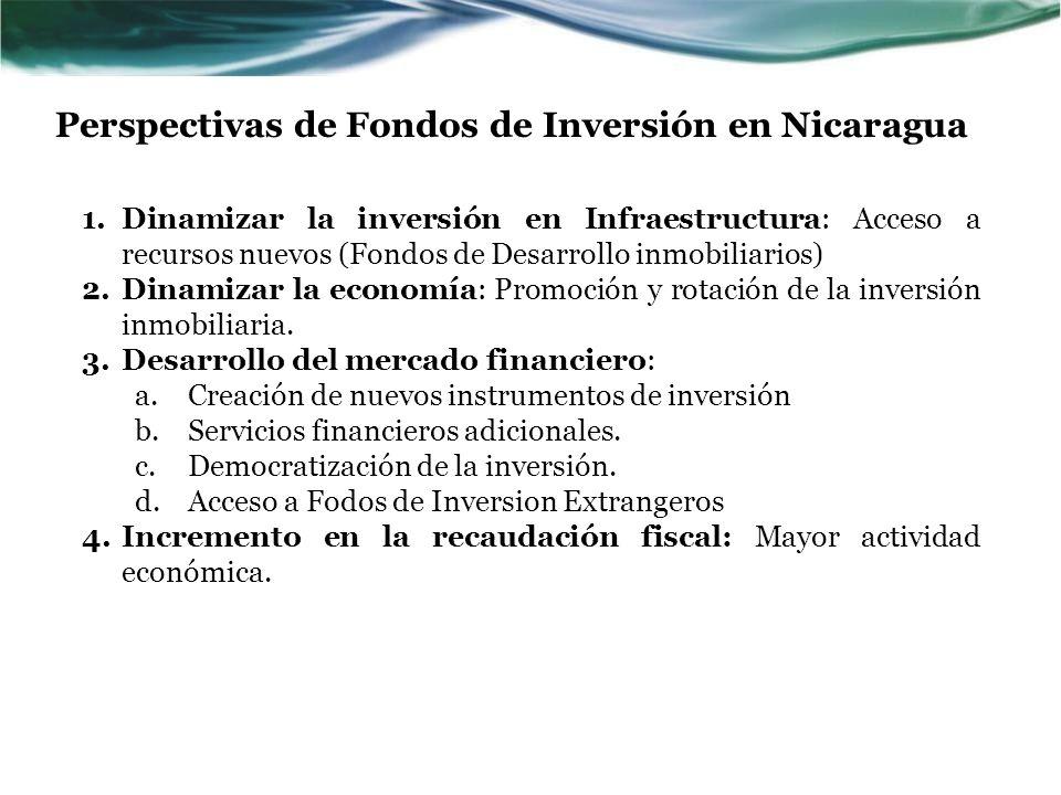 1.Dinamizar la inversión en Infraestructura: Acceso a recursos nuevos (Fondos de Desarrollo inmobiliarios) 2.Dinamizar la economía: Promoción y rotaci
