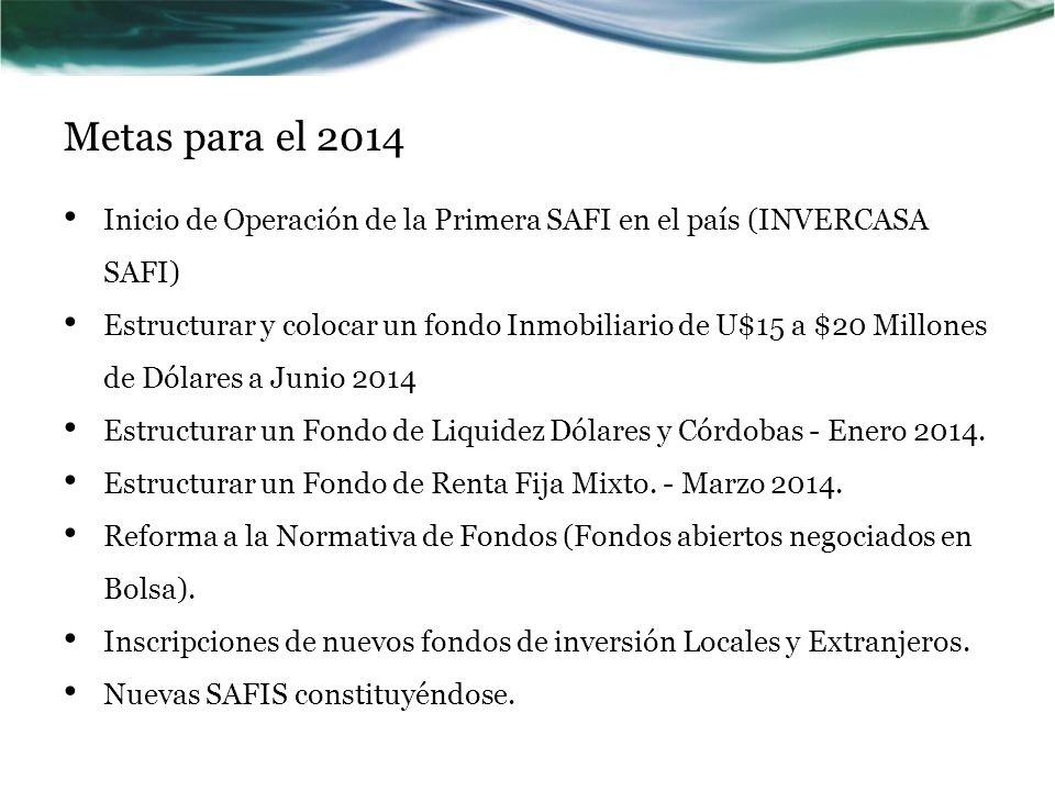 Metas para el 2014 Inicio de Operación de la Primera SAFI en el país (INVERCASA SAFI) Estructurar y colocar un fondo Inmobiliario de U$15 a $20 Millon