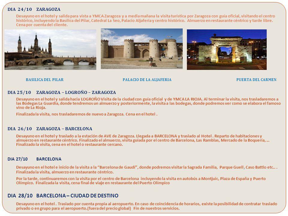 El viaje incluye: TODAS LAS VISITAS INDICADAS EN EL ITINERARIO CON GUIA OFICIAL TODOS LOS TRASLADOS ESPECIFICADOS EN EL ITINERARIO, EN TREN EN CLASE TURISTA O EN AUTOBÚS 12 ALMUERZOS Y 6 CENAS ESPECIFICADAS EN EL ITINERARIO HOTELES DE 4 ESTRELLAS EN LAS CIUDADES DONDE SE PERNOCTE ALOJAMIENTO Y DESAYUNO EN TODOS LOS HOTELES ACOMPAÑANTE DE YMCA ESPAÑA EN TODO EL RECORRIDO ASISTENCIA DE PERSONAL HALCON VIAJES ENTRADAS EN LOS MONUMENTOS ESPECIFICADOS EN EL ITINERARIO El viaje no incluye: TRANSPORTE DESDE LUGAR DE ORIGEN A ESPAÑA Y VICEVERSA.