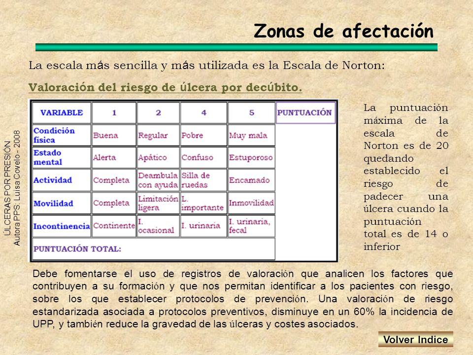 ÚLCERAS POR PRESIÓN Autora PPS: Luisa Covelo - 2008 La escala m á s sencilla y m á s utilizada es la Escala de Norton: Valoraci ó n del riesgo de ú lc